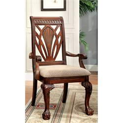 Furniture of America Mastens Dining Arm Chair in Cherry (Set of 2)
