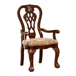 Furniture of America Wilson Dining Arm Chair in Cherry (Set of 2)