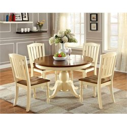 Furniture of America Gossling 5 Piece Extendable Pedestal Dining Set