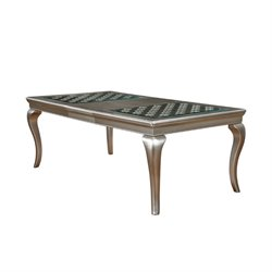 Furniture of America Madelyn Extendable Dining Table in Silver