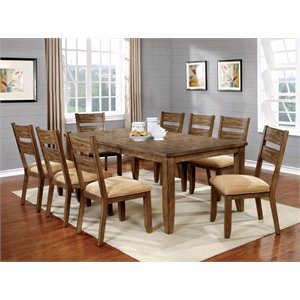 Furniture of America Natting 9 Piece Extendable Dining Set in Oak