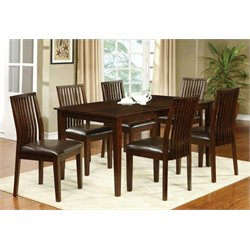 Furniture of America Schipani 7 Piece Extendable Dining Set in Walnut