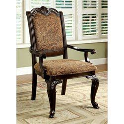 Furniture of America Ramsaran Dining Arm Chair in Cherry (Set of 2)