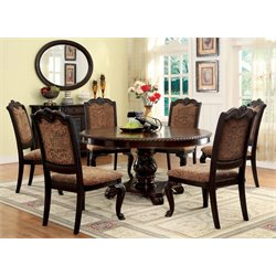 Furniture of America Ramsaran 7 Piece Round Dining Set in Brown Cherry