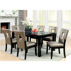 Furniture of America Nosbisch 7 Piece Dining Set in Black