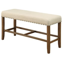 Furniture of America Whunter Counter Height Dining Bench in Natural