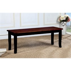 Furniture of America Yuxley Dining Bench in Black and Cherry
