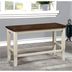 Furniture of America Jack Counter Height Dining Bench in White