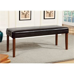 Furniture of America Traline Leather Dining Bench in Natural Wood