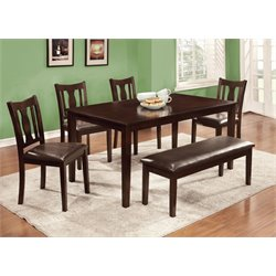 Furniture of America Bowring 6 Piece Dining Set in Espresso