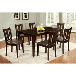 Furniture of America Bowring 7 Piece Dining Set in Espresso