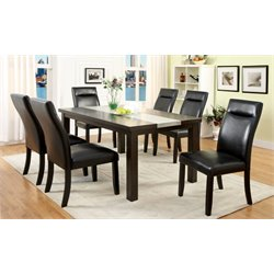 Furniture of America Glendale 7 Piece Dining Set in Dark Walnut