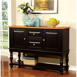 Furniture of America Sallie Sideboard in Black and Antique Oak