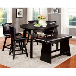 Furniture of America Omura 6 Piece Counter Height Dining Set in Black