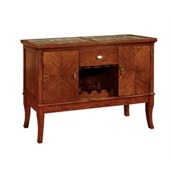 Furniture of America Arlington Wine Rack Sideboard in Dark Oak