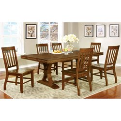 Furniture of America Duran 7 Piece Dining Set in Natural Wood