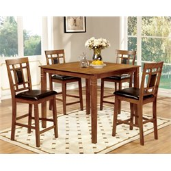 Furniture of America Raven 5 Piece Square Counter Height Dining Set