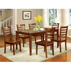 Furniture of America Elgee 7 Piece Oak Dining Set in Oak