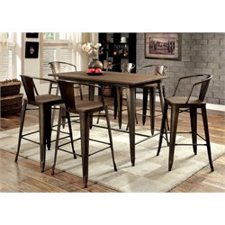Furniture of America Mayfield 7 Piece Counter Height Dining Set in Elm