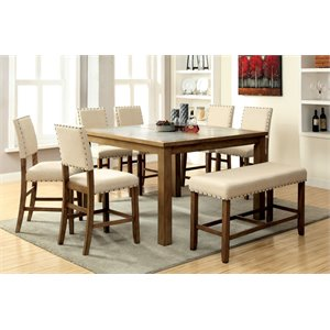 Furniture of America Spier Square Counter Height Dining Table in Wood