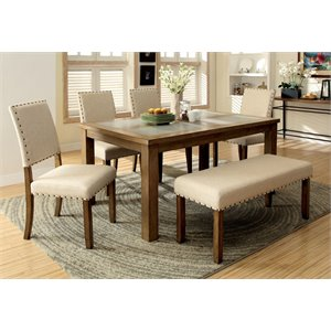 Furniture of America Spier Top Dining Table in Natural Wood