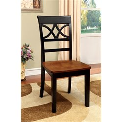 Furniture of America Maxey Dining Chair in Black and Cherry (Set of 2)