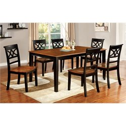 Furniture of America Maxey 7 Piece Extendable Dining Set in Cherry