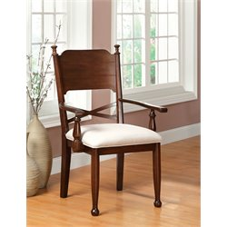 Furniture of America Duncan Dining Arm Chair in Cherry (Set of 2)