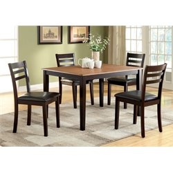 Furniture of America Steline 5 Piece Dining Set in Espresso