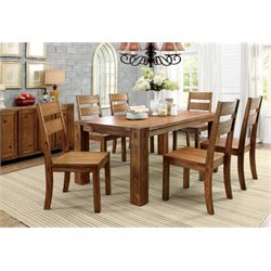 Furniture of America Rowlie 7 Piece Dining Set in Dark Oak