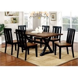 Furniture of America Venture 7 Piece Dining Set in Antique Oak