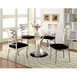 Furniture of America Lopez 5 Piece Oval Dining Set in Satin