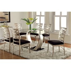 Furniture of America Genaveve 7 Piece Dining Set in Satin