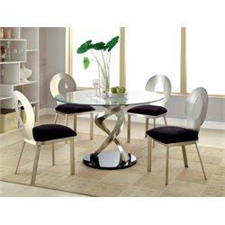Furniture of America Halliway 5 Piece Round Dining Set in Satin