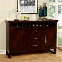 Furniture of America Steline Wine Rack Buffet in Natural Wood