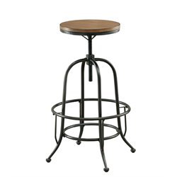 Furniture of America Peralta Adjustable Bar Stool in Oak (Set of 2)