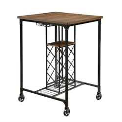 Furniture of America Peralta Pub Table with Casters in Medium Oak