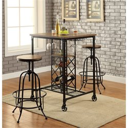 Furniture of America Manny 3 Piece Pub Set in Medium Oak