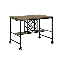 Furniture of America Manny Counter Height Pub Table with Casters