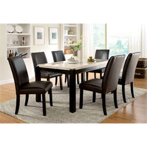 Furniture of America Hudson Faux Marble Top Dining Table in Wood
