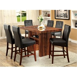 Furniture of America Rosa 7 Piece Counter Height Dining Set in Cherry