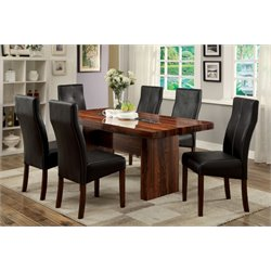 Furniture of America Rosa 7 Piece Dining Set in Brown Cherry