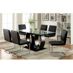 Furniture of America Hugo 7 Piece Dining Set in Black
