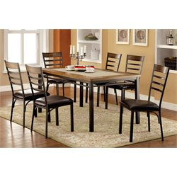 Furniture of America Cowan 7 Piece Dining Set in Bronze