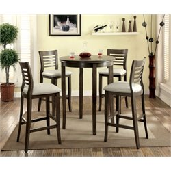 Furniture of America Cavesta 5 Piece Round Pub Set in Gray