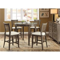Furniture of America Cavesta 5 Piece Round Counter Height Dining Set