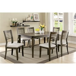 Furniture of America Mantray 7 Piece Dining Set in Gray
