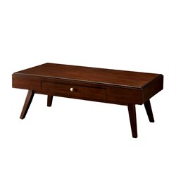 Furniture of America Brunchelly Coffee Table in Brown Cherry