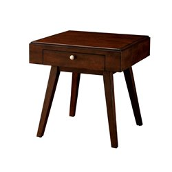 Furniture of America Brunchelly 1 Drawer End Table in Brown Cherry