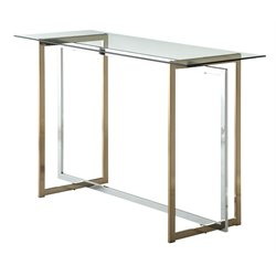 Furniture of America Pompulus Glass Top Console Table in Champagne